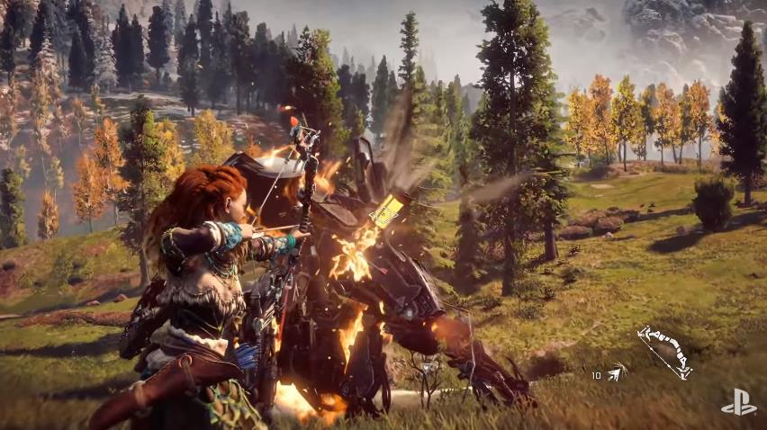 horizon-zero-dawn-e3-gameplay-video-alloy-fighting-creature